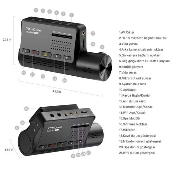 Viofo A139 WiFi 2 Kameralı 2K Araç Kamerası