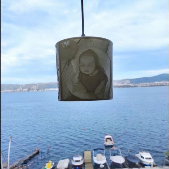 Kişiye Özel 3D Fotoğraflı Avize (15x15cm) + Sarkıt Duy