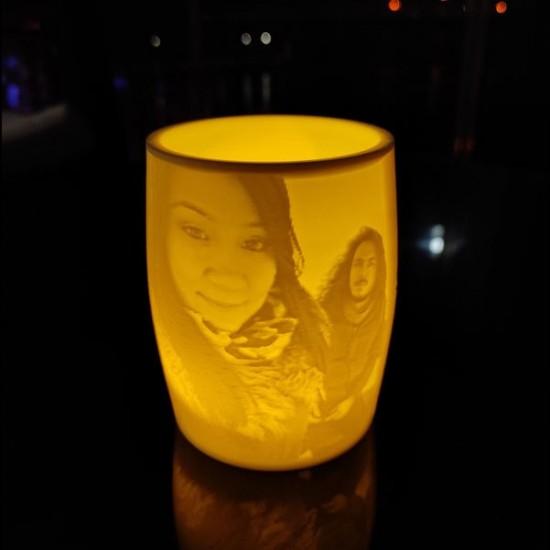 Kişiye Özel 3D Fotoğraflı Fıçı LED Mumluk
